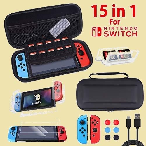 新品 未使用 Switch Nintendo 4-4N 4in1ゲ-ムカ-ドケ-ス+6個親指キャップ+TypeC 充電ケ-ブル】スイッチキ-ト ケ-ス 15 in 1_画像1