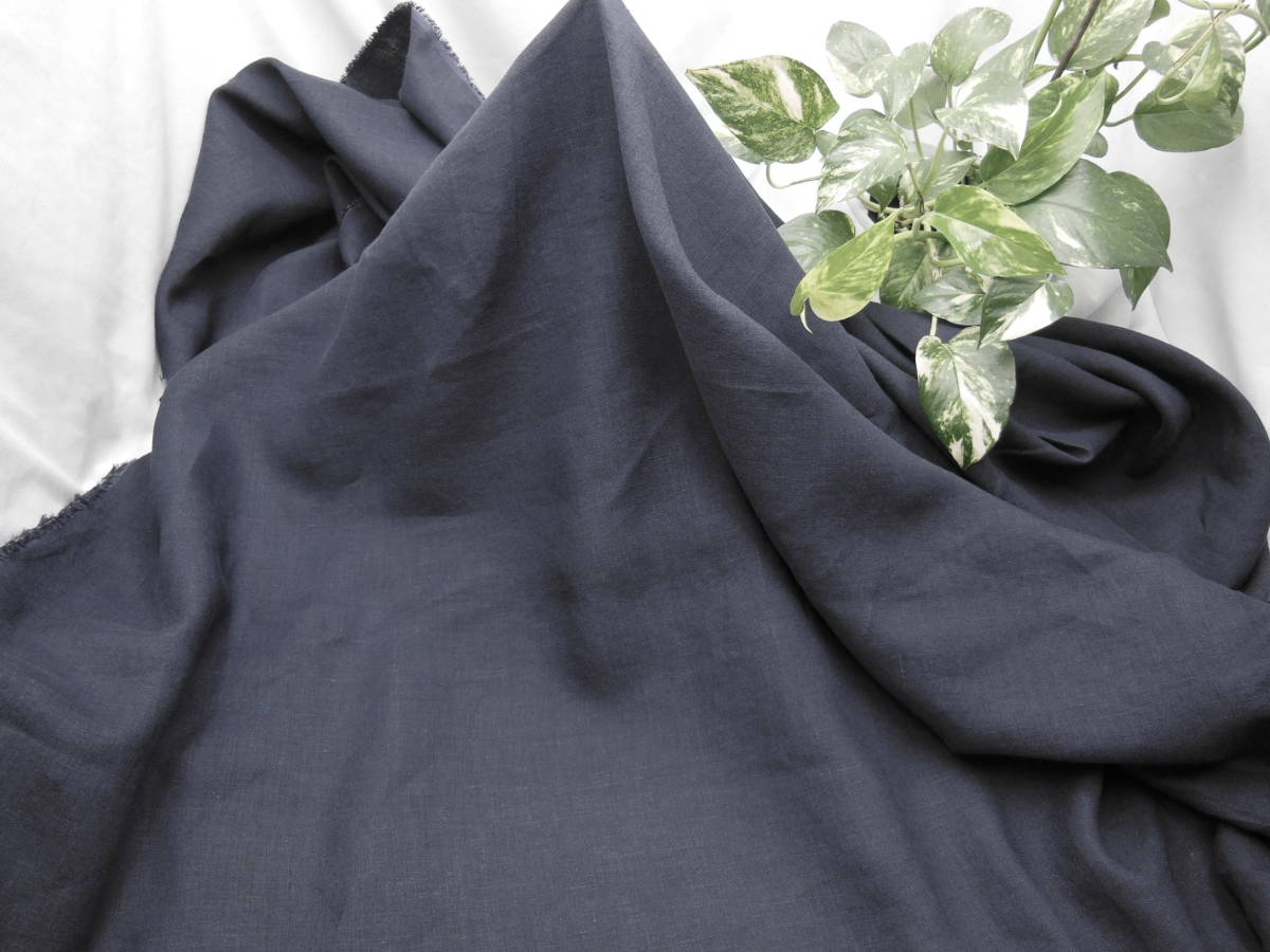 新入荷!掘り出し品!日本製!高級ブランドオリジナル!なかなか手に入らない!糸細上質リネン100%!ネービーブルー114cm巾×2m_日本製 高級ブランド 上質リネン100%