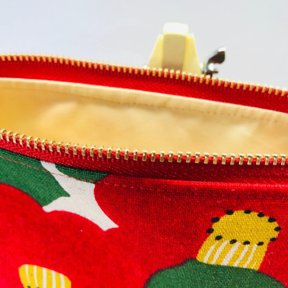 ポーチ ポケットティッシュケース付きポーチ 椿柄 3点セット ハンドメイド 小物入れ コスメポーチ サニタリーケース プレゼント