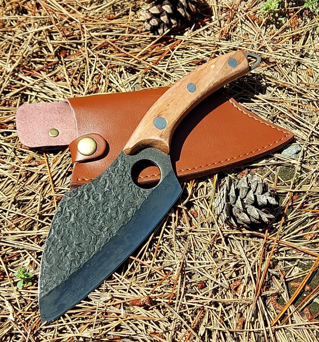 鍛造 鉈 ナタ フルタング サバイバルナイフ ウッドハンドル