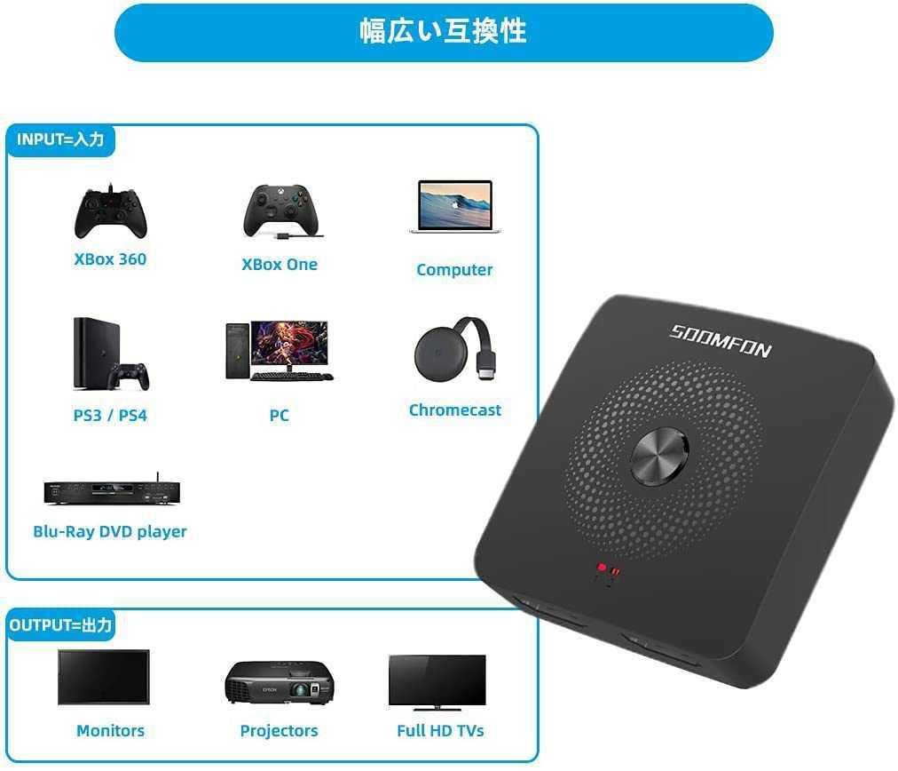 新品 HDMI 切替器 - 4K 60HZ 2入力1出力 1入力2出力 HDCP2.2 Ver2.0 HDMI セレクター HDR 1080P 3D Xbox Nintendo PS4 Blu-Ray HDTV対応