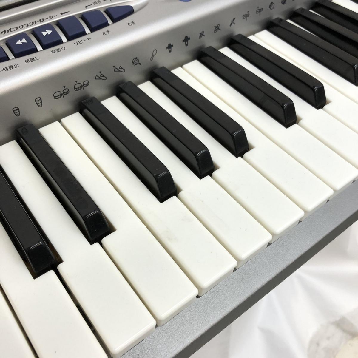 CASIO カシオ 電子キーボード LK-150 光ナビゲーション 61鍵盤 シルバー ブルー 電子ピアノ 鍵盤楽器 アダプター付き H15211_画像2