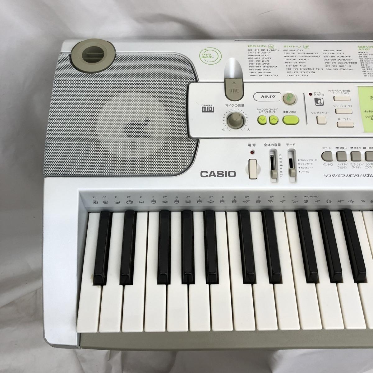 中古 CASIO カシオ 電子キーボード 光ナビゲーション LK-202TV 61鍵盤 シルバー グリーン 電子ピアノ 鍵盤楽器 アダプター 難あり H15233_画像4