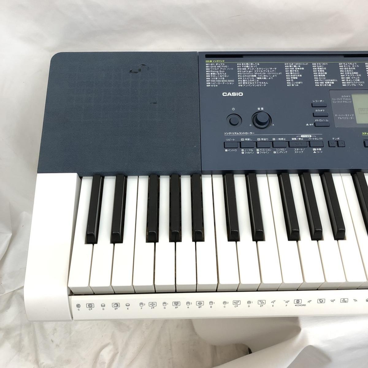 中古 CASIO カシオ 電子キーボード LK-215 光ナビゲーション タッチレスポンス 61鍵盤 ホワイト ネイビー 鍵盤楽器 電子ピアノ H15254_画像3
