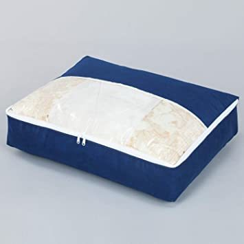 ネイビー アストロ 羽毛布団 収納袋 シングル用 ネイビー 不織布 コンパクト 優しく圧縮 131-28_画像7