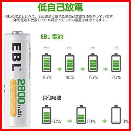 EBL 単3形充電池 充電式ニッケル水素電池2800mAh 4本入り ケース1個付き 約1200回使用可能 単三充電池 AA単3充電池 防災電池_画像3