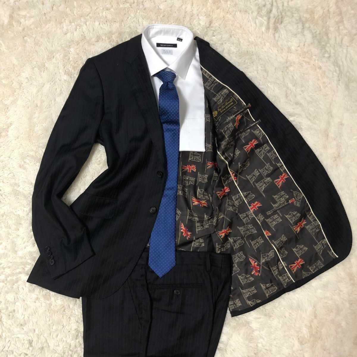 【極美品Lサイズ】Paul Smith London ポールスミスロンドン ロロピアーナ スーツ セットアップ 総柄裏地 ストライプ ユニオンジャック