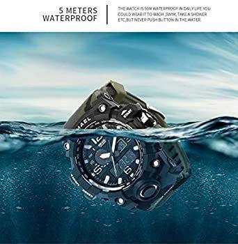 新品グリーン SMAEL ミリタリー 迷彩風 アナデジ 腕時計 メンズ 男性 アラーム クロノグラフ 多機能 スポーZC1Q_画像6