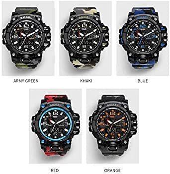 新品グリーン SMAEL ミリタリー 迷彩風 アナデジ 腕時計 メンズ 男性 アラーム クロノグラフ 多機能 スポーZC1Q_画像7