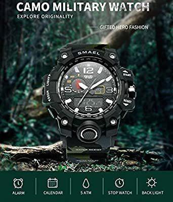 新品グリーン SMAEL ミリタリー 迷彩風 アナデジ 腕時計 メンズ 男性 アラーム クロノグラフ 多機能 スポーZC1Q_画像2