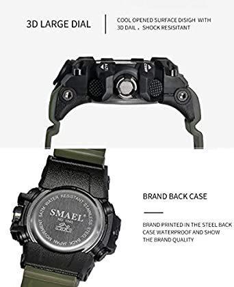 新品グリーン SMAEL ミリタリー 迷彩風 アナデジ 腕時計 メンズ 男性 アラーム クロノグラフ 多機能 スポーZC1Q_画像4