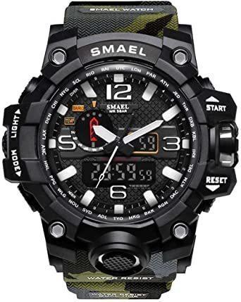 新品グリーン SMAEL ミリタリー 迷彩風 アナデジ 腕時計 メンズ 男性 アラーム クロノグラフ 多機能 スポーZC1Q_画像1