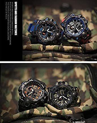 新品グリーン SMAEL ミリタリー 迷彩風 アナデジ 腕時計 メンズ 男性 アラーム クロノグラフ 多機能 スポーZC1Q_画像5
