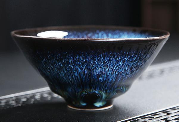 【1円開始】日本の陶磁 京焼 茶碗 焼締め 自然釉 陶磁 茶盞 曜変油滴星天目 茶道具 窯変
