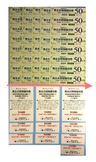(東急株主優待券) 東急ストアお買い物割引券 40枚+東急百貨店お買い物10%割引券7枚=個数1~3_画像1
