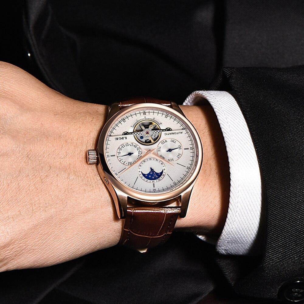 送料無料!リロイ lige メンズ 機械式時計 トゥールビヨン 高級ファッションブランド 革 スポーツ腕時計 自動 レロジオ masculino_画像5