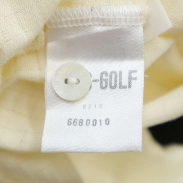 DAKS ダックス 通年 長袖 ロゴ刺繍 薄手★チェック使い ストレッチ ポロシャツ Sz.LB メンズ 日本製 ゴルフ C1T04147_6#C_画像7