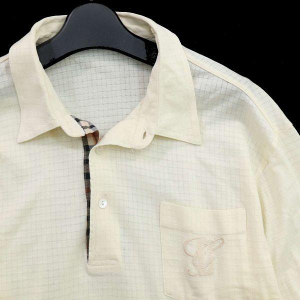 DAKS ダックス 通年 長袖 ロゴ刺繍 薄手★チェック使い ストレッチ ポロシャツ Sz.LB メンズ 日本製 ゴルフ C1T04147_6#C_画像2