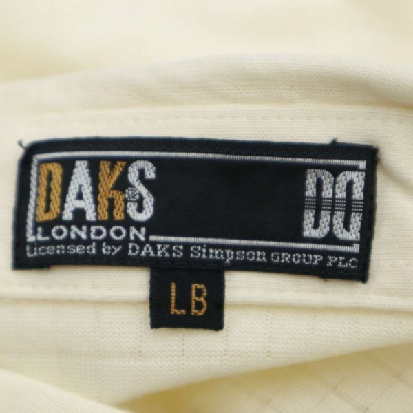 DAKS ダックス 通年 長袖 ロゴ刺繍 薄手★チェック使い ストレッチ ポロシャツ Sz.LB メンズ 日本製 ゴルフ C1T04147_6#C_画像6