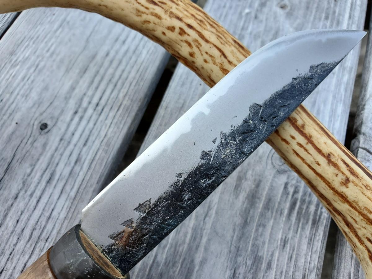 【未使用】和式四万十渓流ナイフ105青スーパー 革バンド
