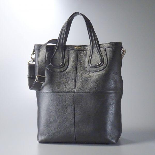 MC6669//イタリア製*ジバンシィ/GIVENCHY*ナイチンゲール/A4対応/ショルダー付き/2wayレザートートバッグ/鞄/黒/ブラック/ユニセックス