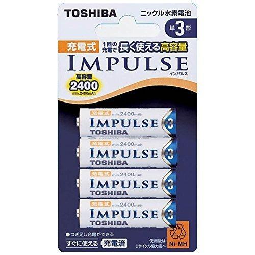 TOSHIBA ニッケル水素電池 充電式IMPULSE 高容量タイプ 単3形充電池(min.2,400mAh) 4本 TNH-3_画像1