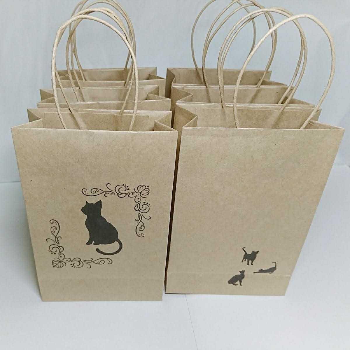 黒猫 クラフト紙袋 手提げ袋 ラッピング袋 プチギフト ペーパーバッグ お礼 ハンドメイド 包装 6枚 _画像1