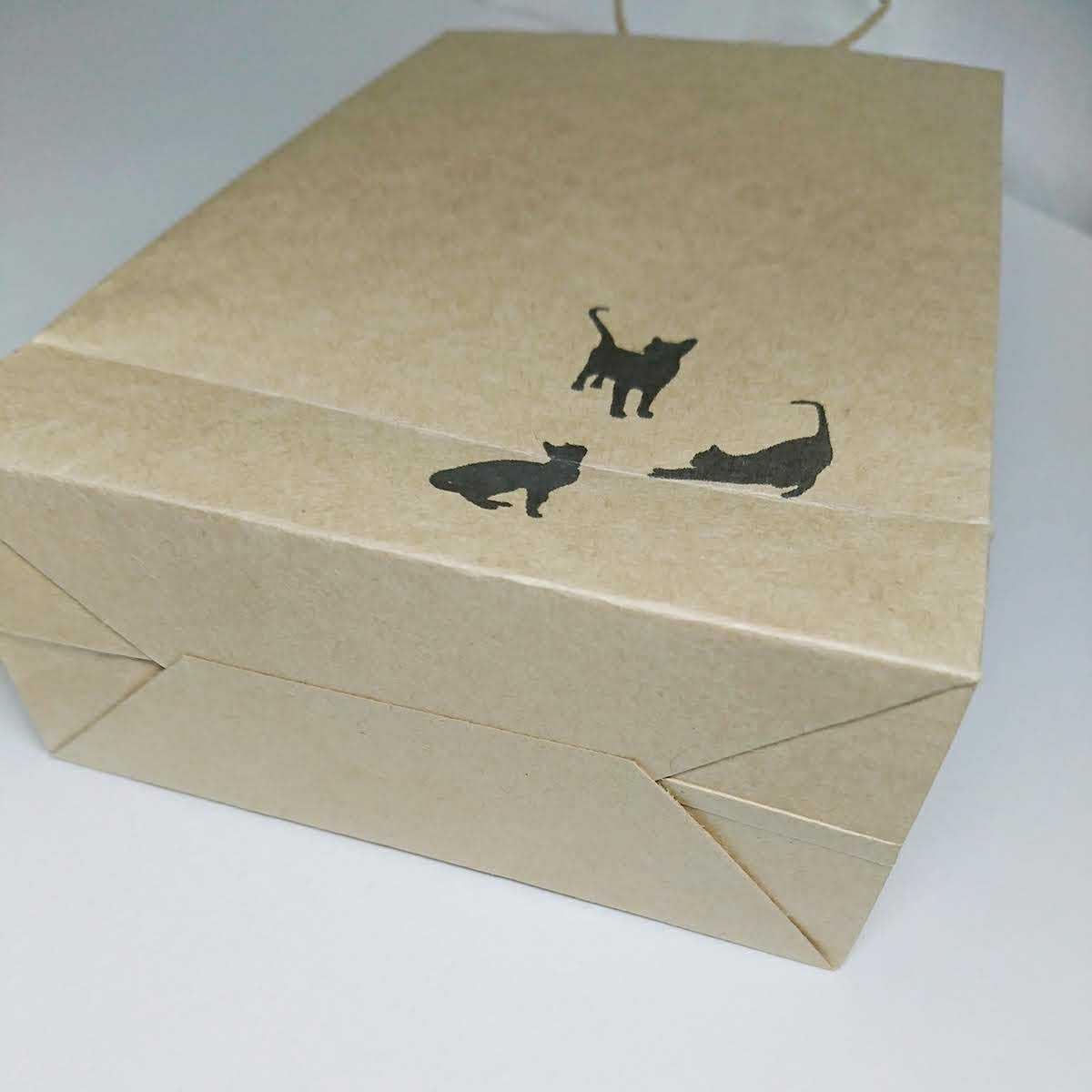 黒猫 クラフト紙袋 手提げ袋 ラッピング袋 プチギフト ペーパーバッグ お礼 ハンドメイド 包装 6枚 _画像3