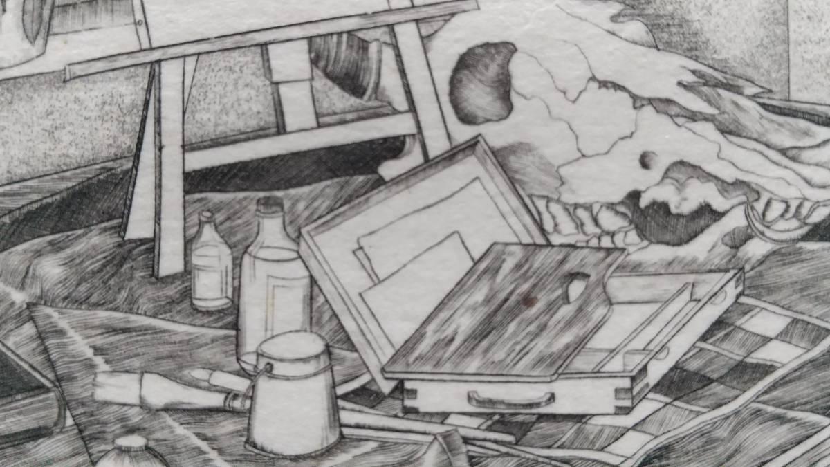 吉田勝彦 『 冬の静物 』 銅版画 直筆サイン入り 1987年 限定50部 額装 【真作保証】  エングレービング  ビュラン _画像6