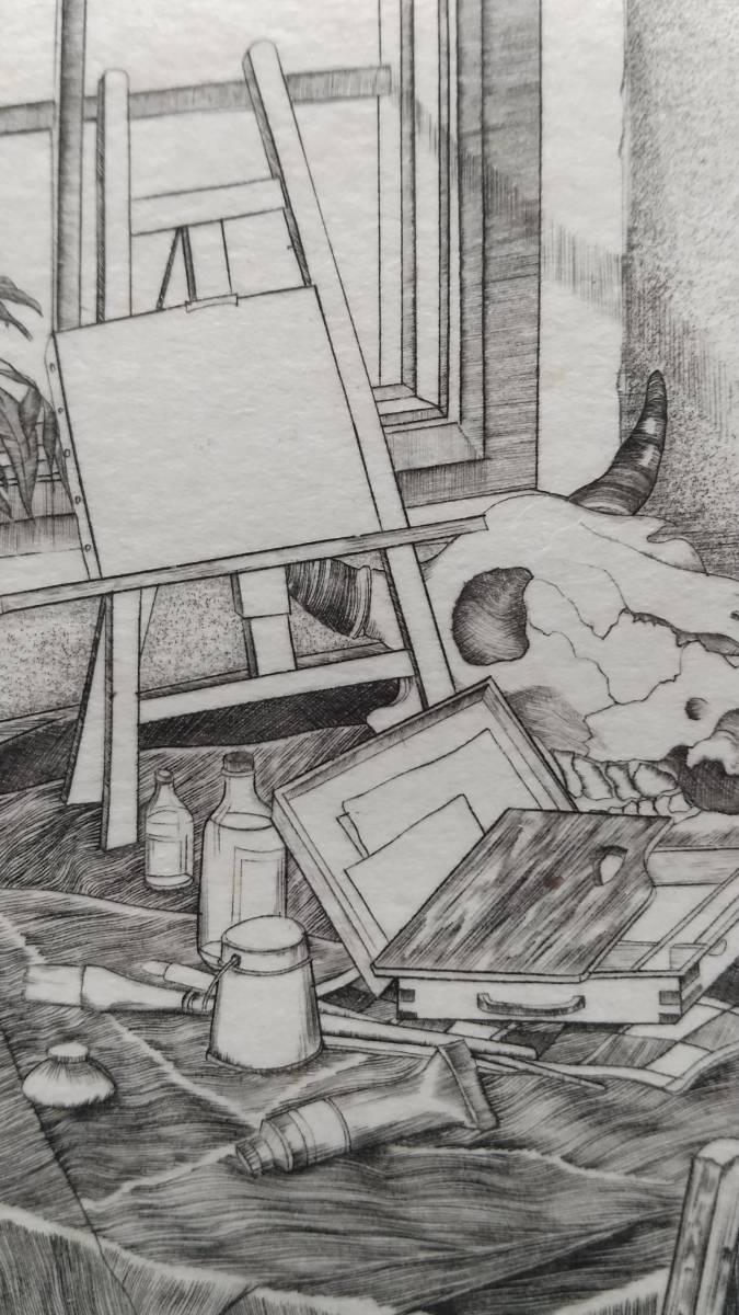吉田勝彦 『 冬の静物 』 銅版画 直筆サイン入り 1987年 限定50部 額装 【真作保証】  エングレービング  ビュラン _画像5