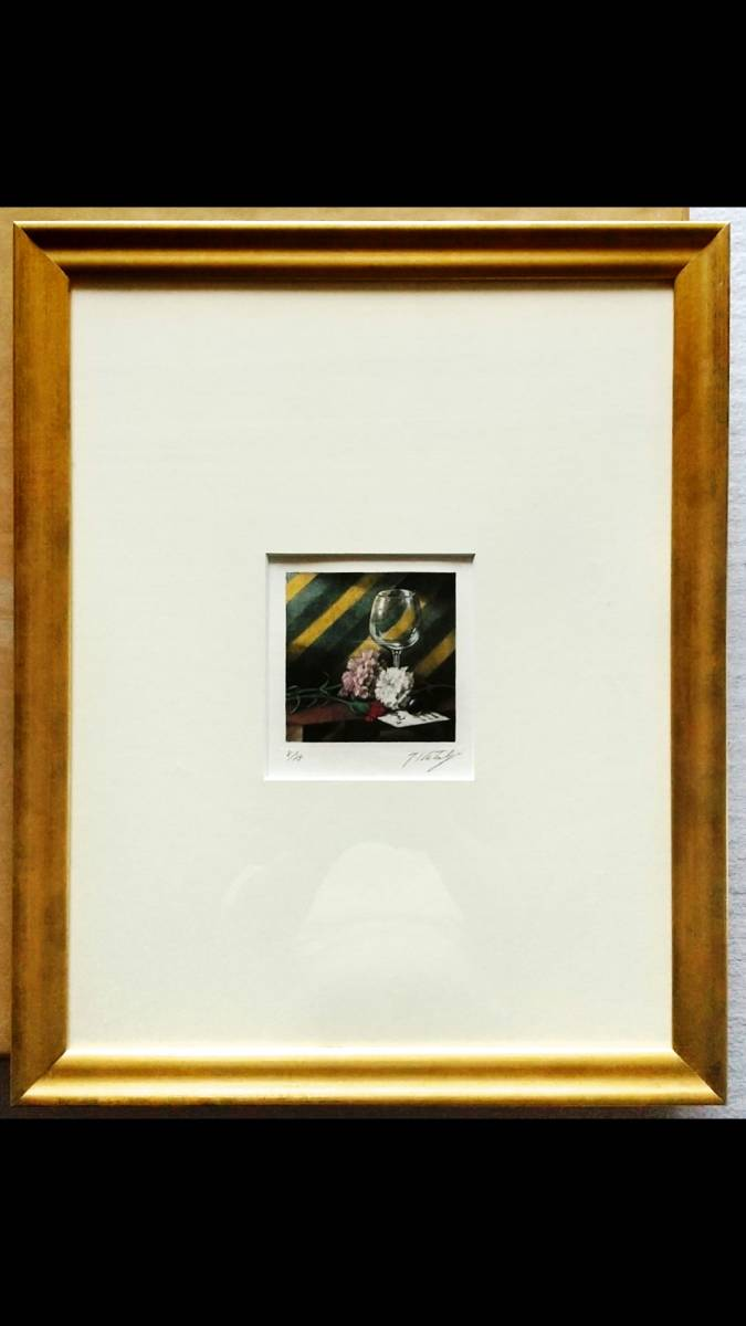 鹿取武司 『 カーネーションのある静物 』 銅版画 直筆サイン 1992年制作 限定75部 額装 【真作保証】カラーメゾチント+ 手着彩技法_画像2