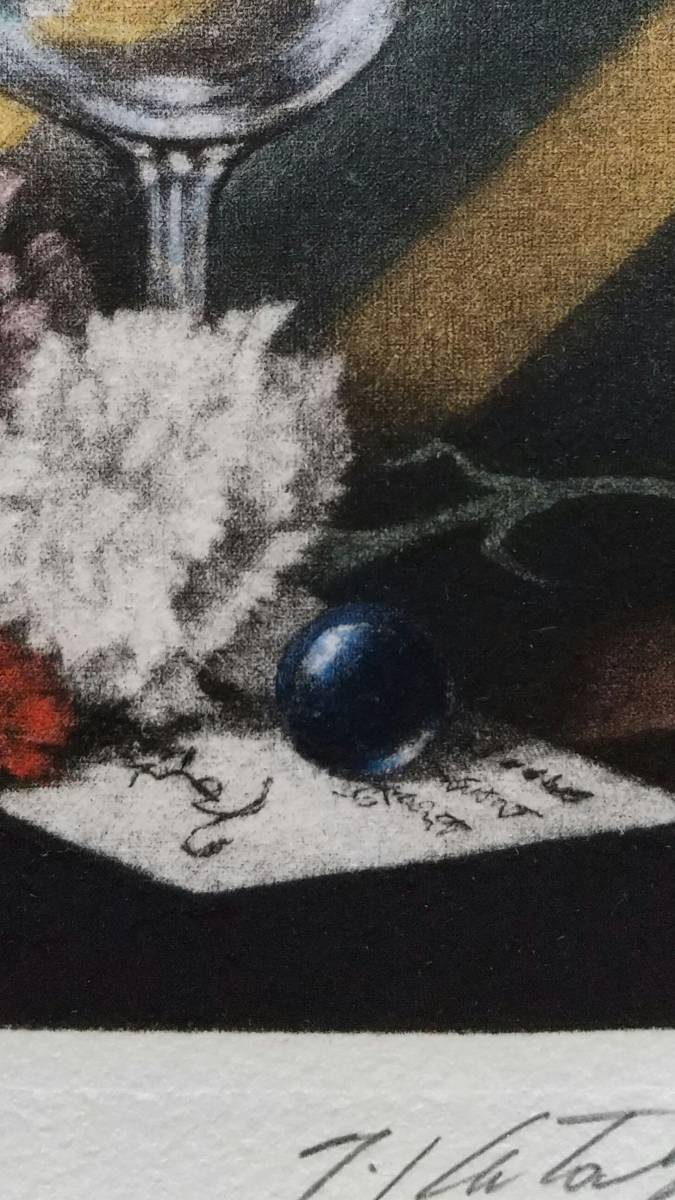 鹿取武司 『 カーネーションのある静物 』 銅版画 直筆サイン 1992年制作 限定75部 額装 【真作保証】カラーメゾチント+ 手着彩技法_画像6