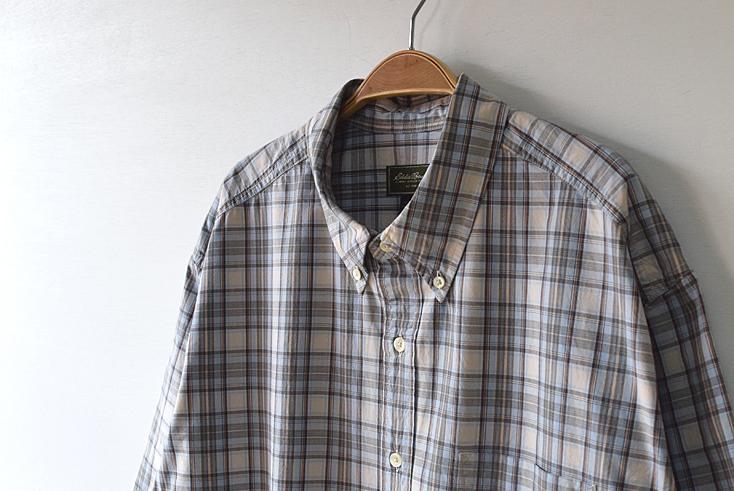 【送料無料】エディーバウアー 半袖シャツ BDシャツ チェック柄 ボタンダウン ビッグサイズ アウトドア Eddie Bauer USA 古着 CB0460
