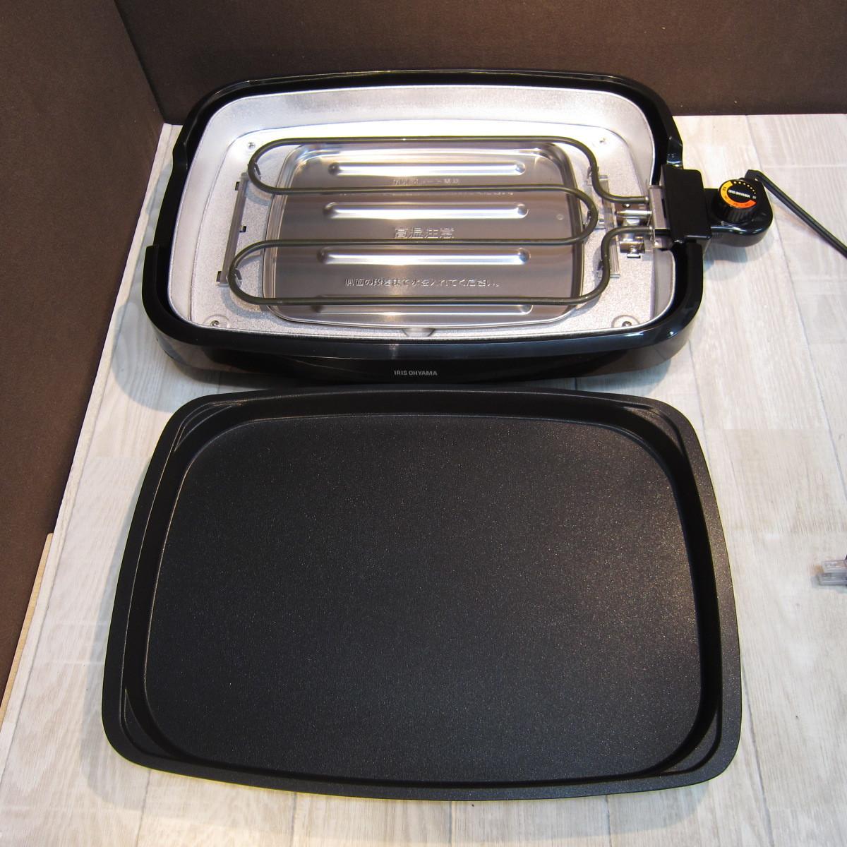 S6080【未使用】アイリスオーヤマ ホットプレート たこ焼き 焼肉 平面 プレート 3枚 網焼き 蓋付き ブラック APA-137-B_画像4