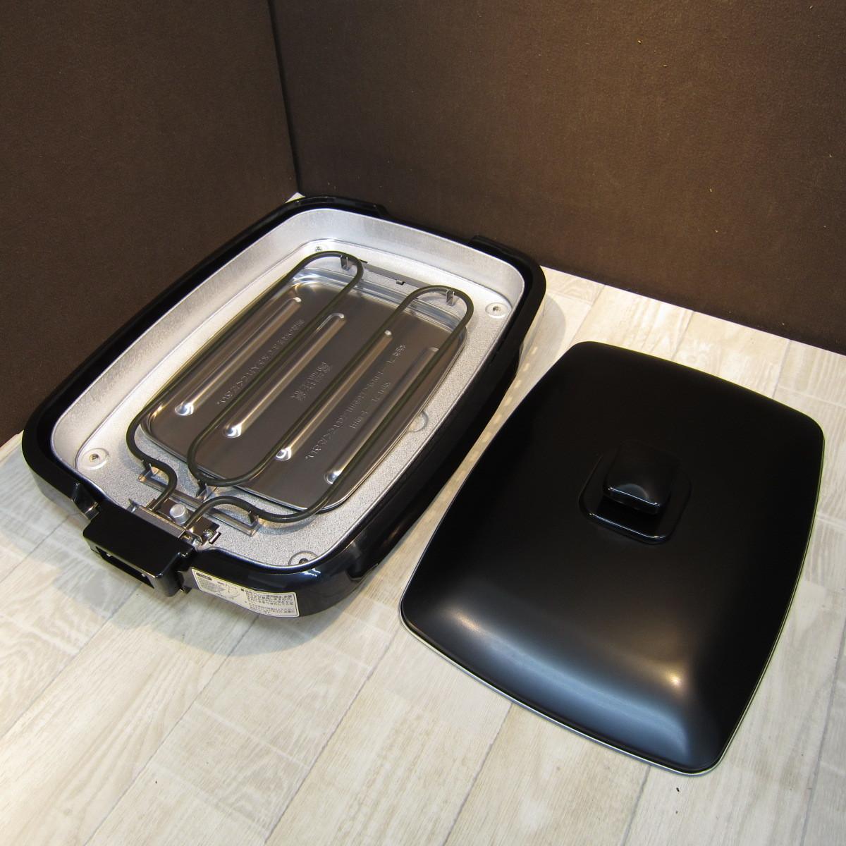 S6080【未使用】アイリスオーヤマ ホットプレート たこ焼き 焼肉 平面 プレート 3枚 網焼き 蓋付き ブラック APA-137-B_画像7