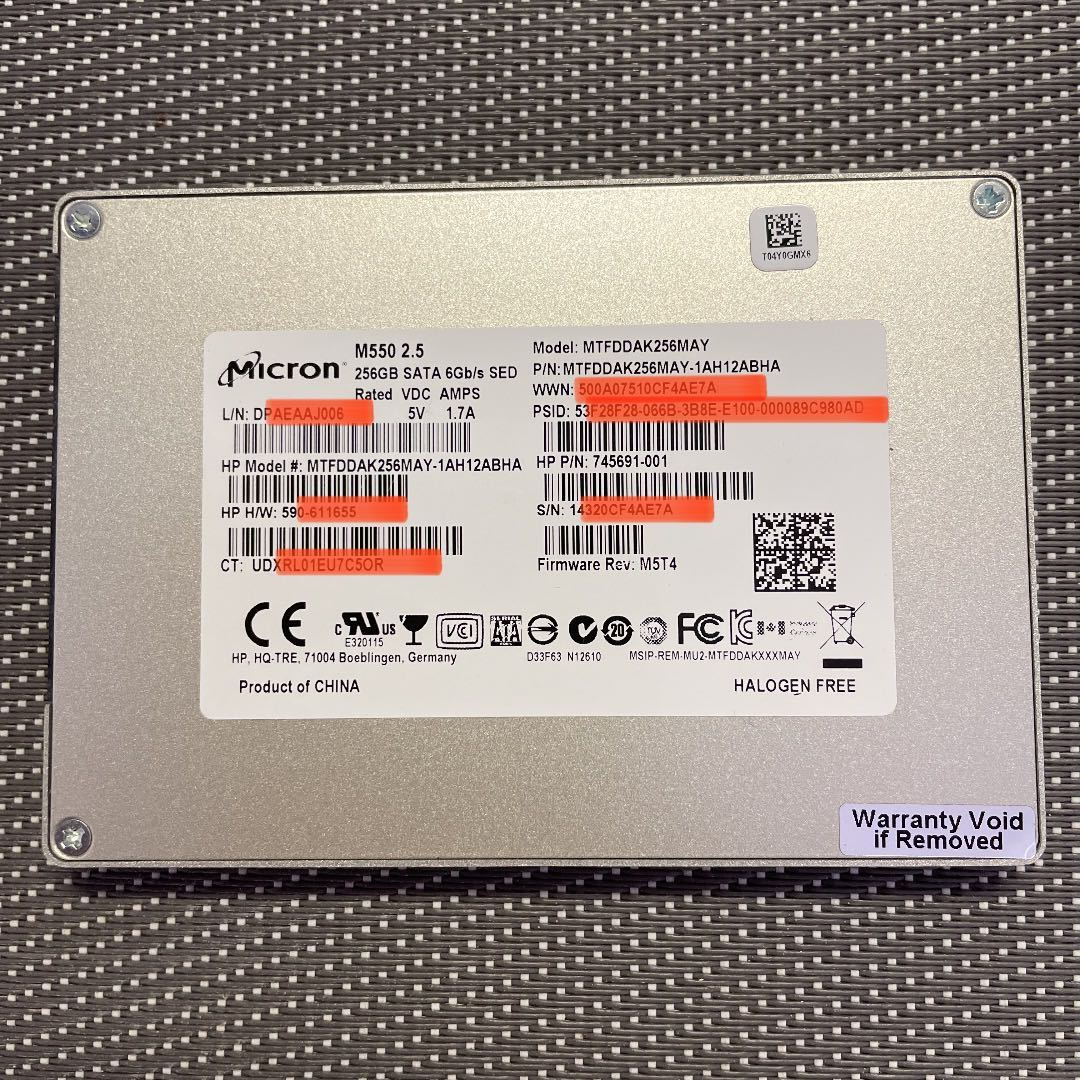 Micron SSD 2.5インチSATA 256GB使用時間2738h