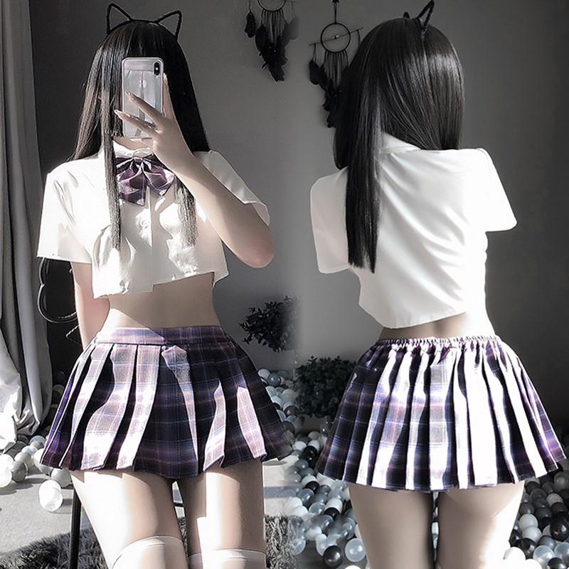超セクシー可愛い セーラー服 学生服 コスプレ 女子高生 制服 トップス&スカート RT439/パープル_画像1