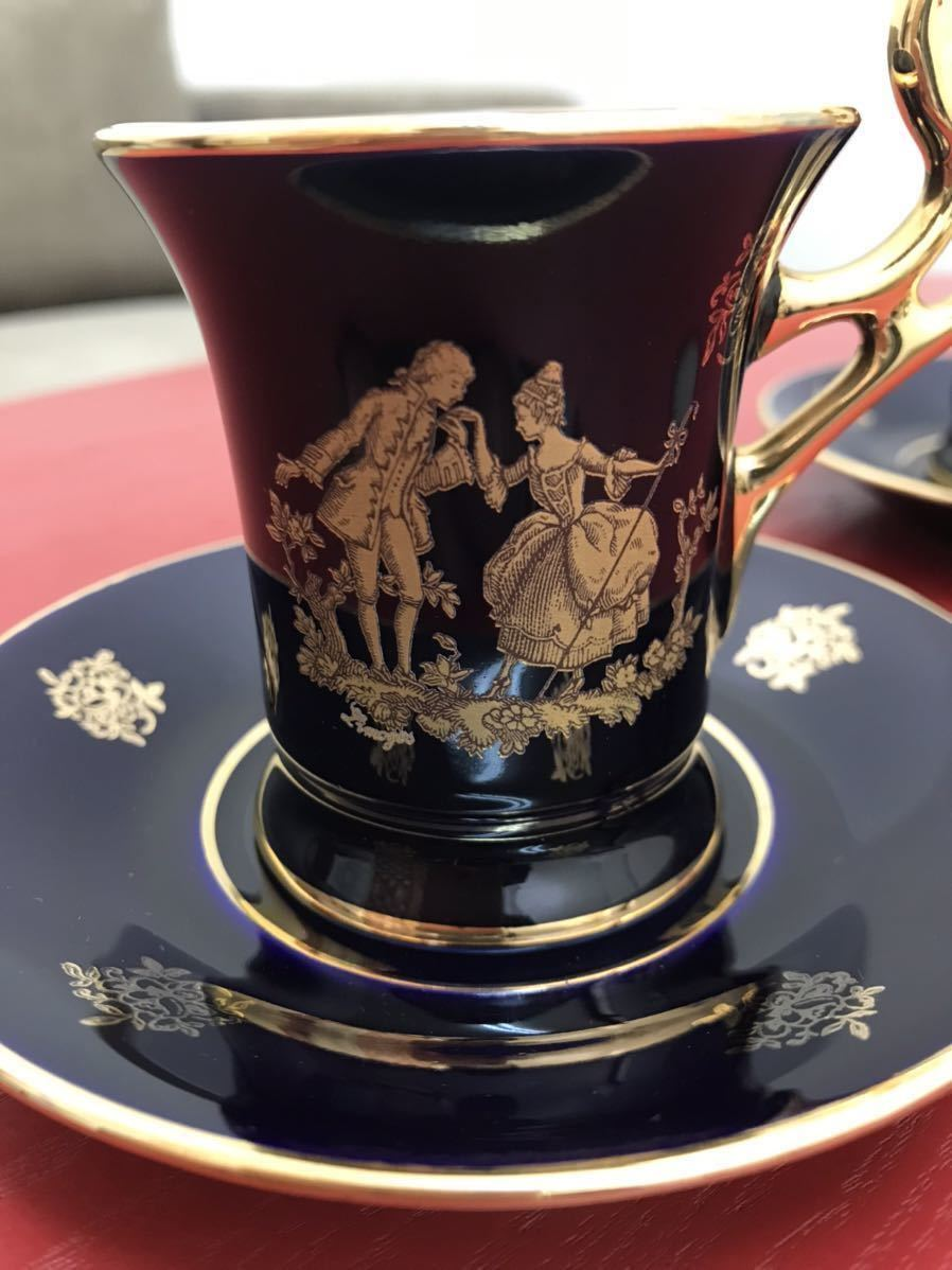フランス LIMOGES リモージュ チョコレートカップ&ソーサー コバルトブルー×ゴールド 訳あり_画像6