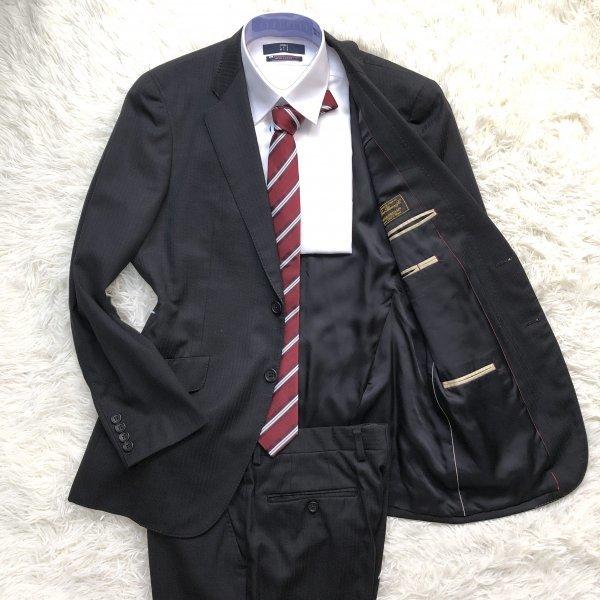 54【英国調の気品】ポールスミス PaulSmith ロロピアーナ生地 シングルスーツ セットアップ 2ボタン ブラック黒 ストライプ L相当