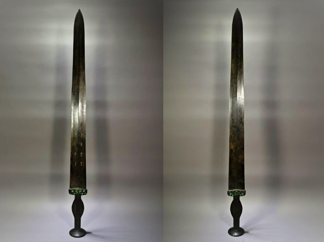 ◆鶴鳴堂◆中国・戦漢時期 青銅器 錯金漢詩青銅剣 超絶技巧 重要文化財 博物館級至宝 古