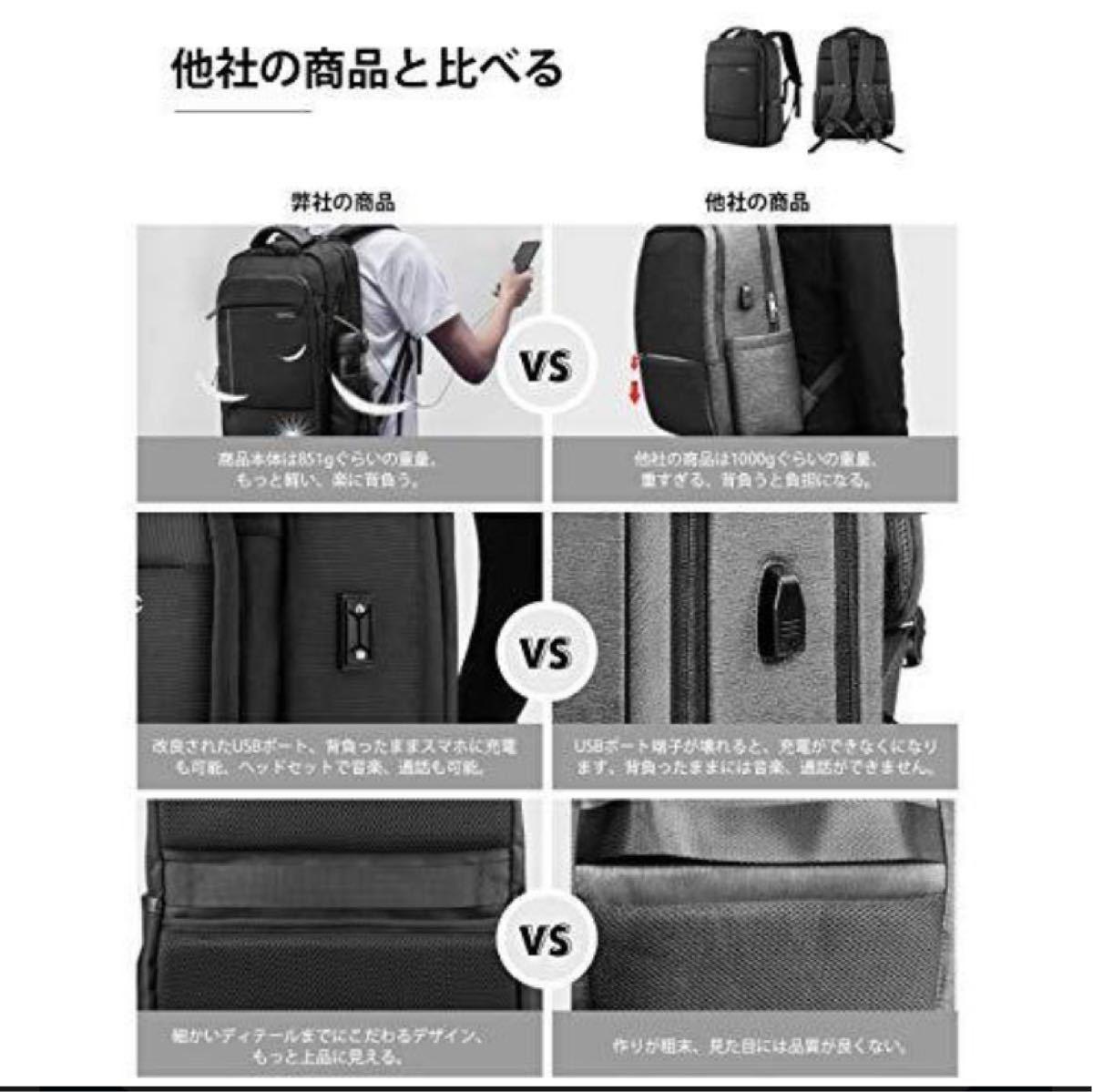 ビジネスリュック バックパック 大容量 15.6インチノートPC収納 USBケーブル&イヤホン穴付き (ブラック) 45*