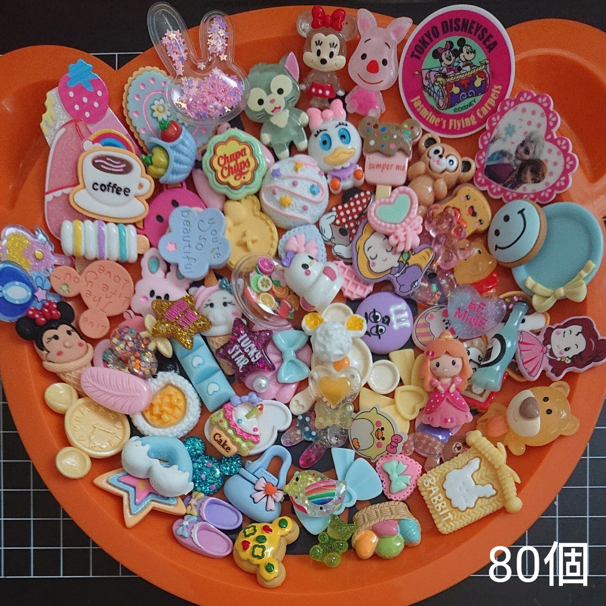 デコパーツ80個と25㎜・22㎜リボン計7mセット②