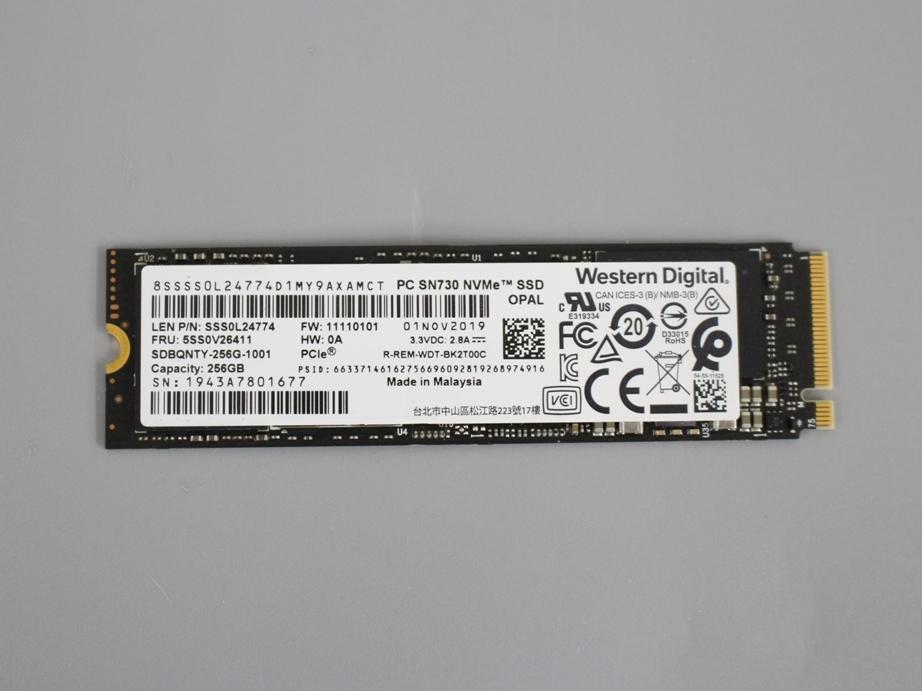 ●送料無料 累計使用時間397H WD Western Digital SDBQNTY-256G■M.2 NVMe 256GB SSD 2280 動作確認済み