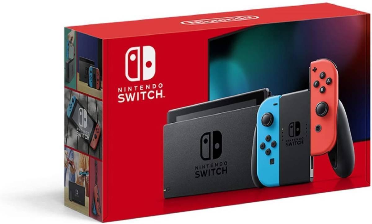 【新品・送料無料】Nintendo Switch 任天堂 ニンテンドースイッチ本体 Joy-Con(L)ネオンブルー(R)ネオンレッド バッテリー拡張版 新モデル _画像2
