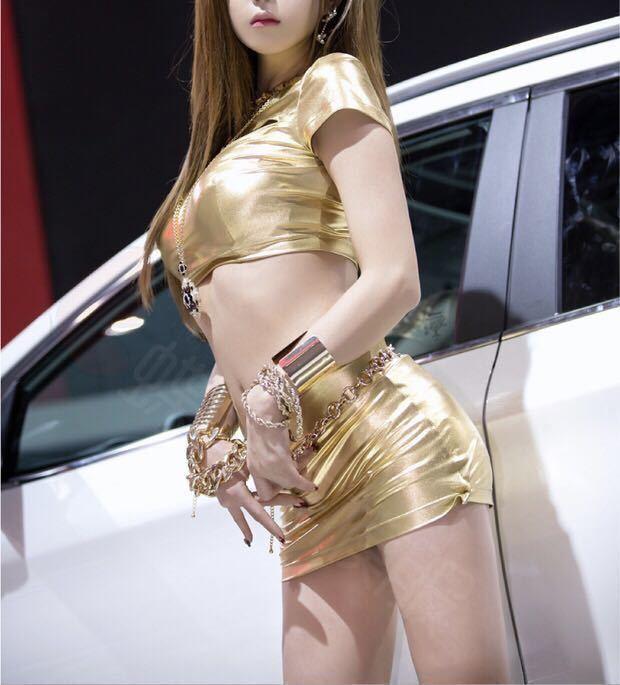 レースクイーン セクシーコスプレ 衣装 コンパニオン キャンギャル ワンピース ミニスカート ロゴ無し ゴールド ワンピース ボディコン RQ