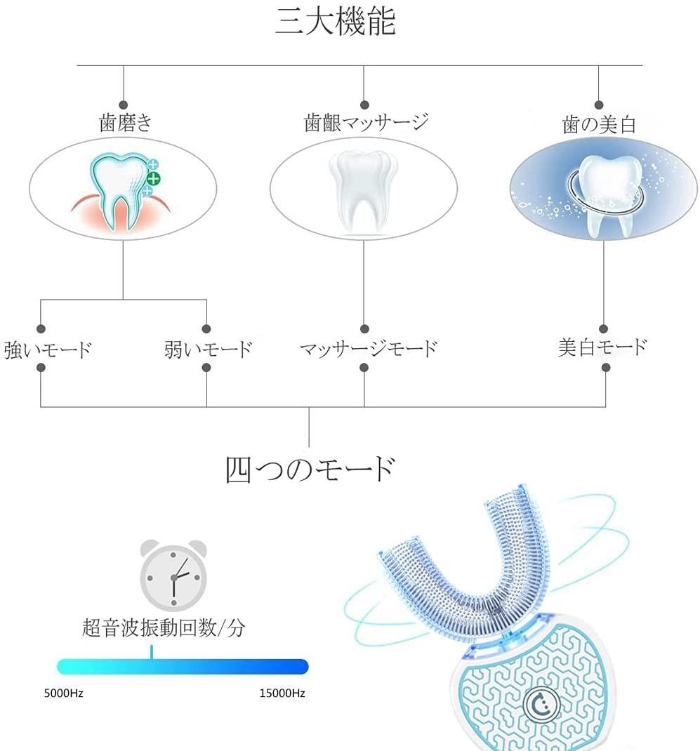 電動歯ブラシ 音波振動歯 ブラシ - IPX7防水