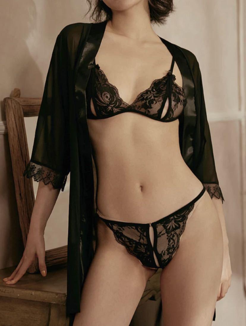 ベビードール エレガント & ブラショーツ 黒セット セクシーランジェリー ナイトウェア シースルー 可愛いプレゼント
