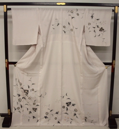 新品 1481 夏着物 大幅値下げ お仕立て上がり正絹絽訪問着 桜鼠色 花唐草_画像1
