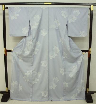 新品 1498 夏着物 大幅値下げ お仕立て上がり 正絹紗小紋 ブルーグレー 橘 _画像1