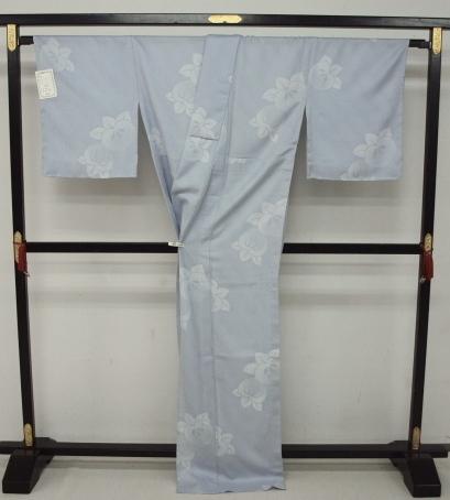 新品 1498 夏着物 大幅値下げ お仕立て上がり 正絹紗小紋 ブルーグレー 橘 _画像3